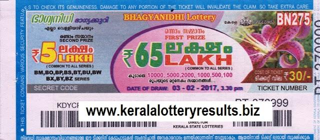 Lottery  Bhagyanidhi BN 250