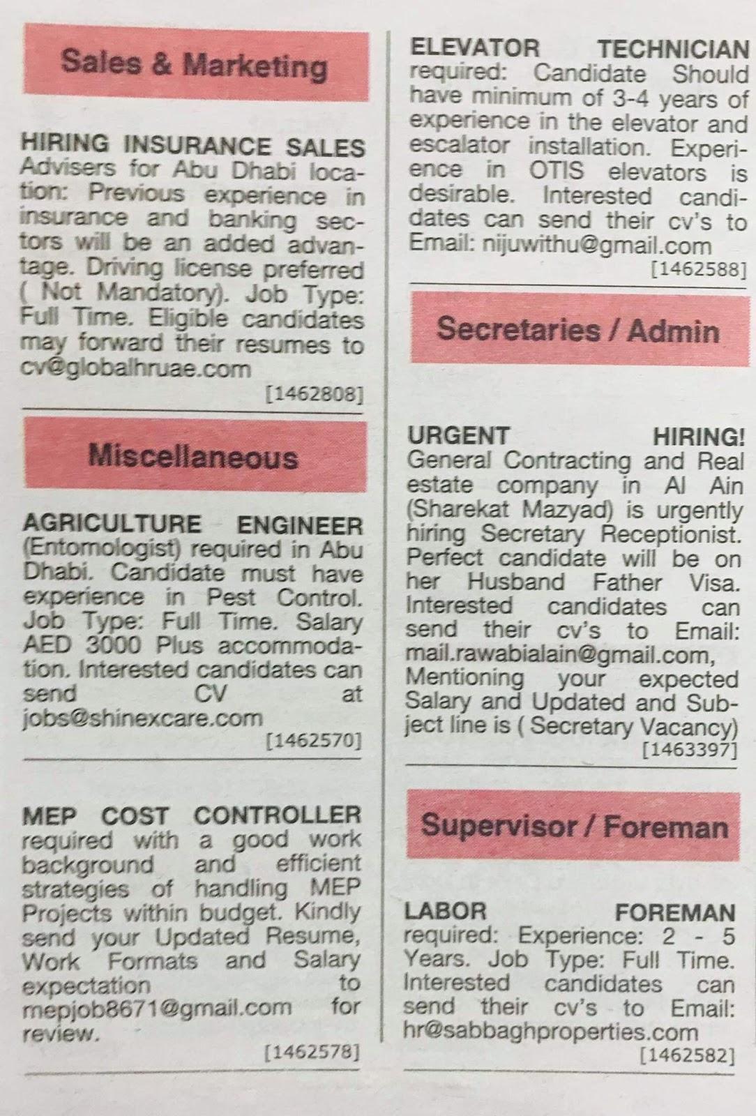 Multiple Jobs Avalable in UAE Local Hiring Jobs Khaleej