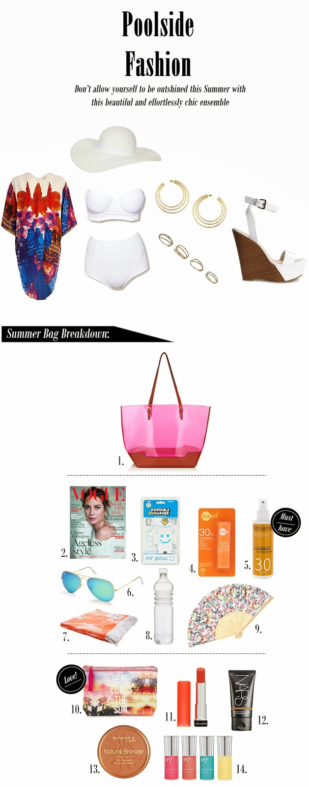 poolside fashion, beach fashion, beach chic, poolside chic, fashion, summer fashion, anasofiachic, summer makeup, beach bag, poolside bag, beach bag essentials, poolside bag essentials, summer basics, summer bag basics, beauty basics