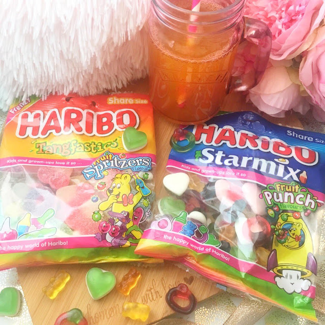 Frenzy editions of Haribo, flatlay with Summer drinks