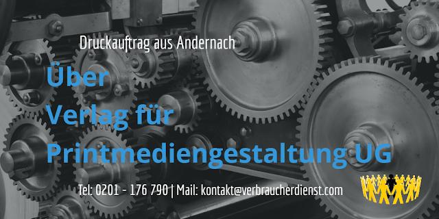 Verlag für Printmediengestaltung UG: Druckauftrag aus Andernach