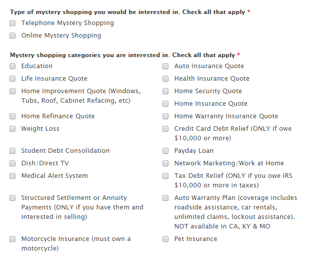 Call center CA registration form to get hired as Mystery Shopper