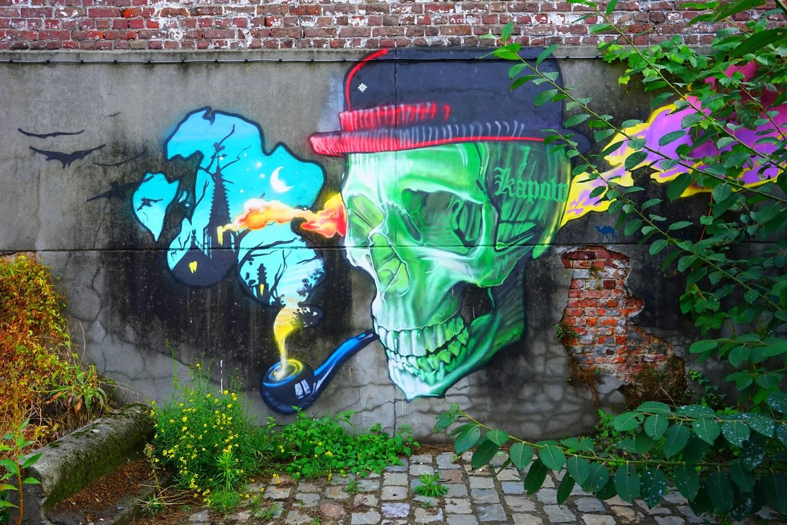 Le Chameau Bleu - Blog Voyage Gand Belgique - Crane de l'artiste Kapow - Street Art à Gand en Belgique