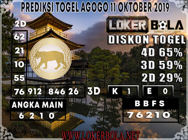 PREDIKSI TOGEL AGOGO LOKERBOLA 11 OKTOBER 2019