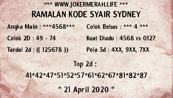 Prediksi Togel Sidney 21 April 2020 - Joker Merah Sydney