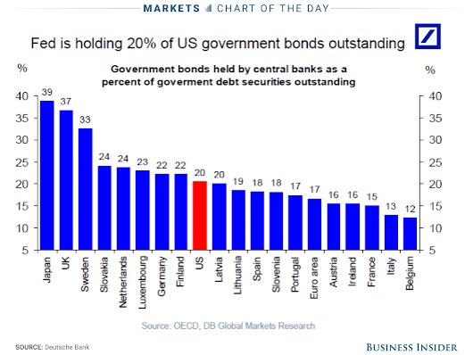 US Fed holds 20% of US government bonds outstanding