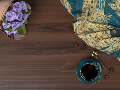 3D Wooden table with roses and cup of tea top view background.