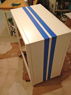 adding stripes to a dresser