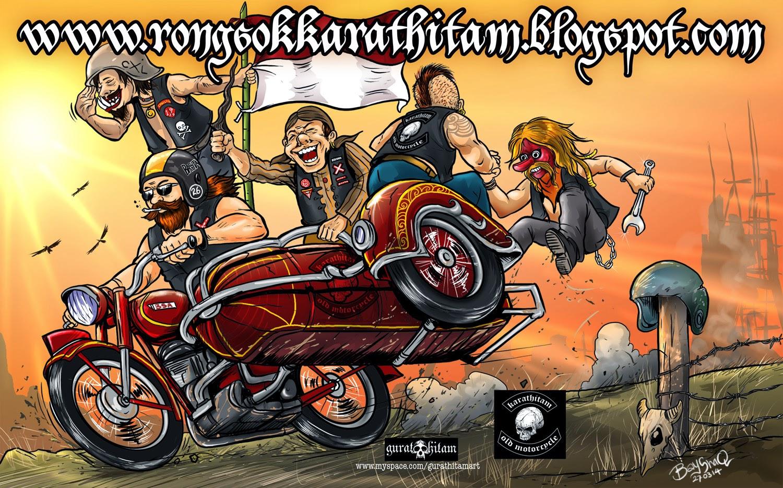 Ilustrasi Karakter Tokoh Bikers Motor Tua Antik Indonesia