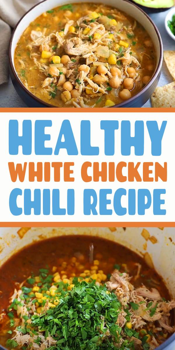 Healthy white chicken chili that's nice and creamy, yet there's no cream! Made with green chile, chicken, corn and blended chickpeas to make it thick and creamy. This easy white chicken chili recipe can even be made in the slow cooker and is bound to become a new family favorite. Serve with avocado, tortilla chips and cilantro. #slowcooker #healthychicken #healthyrecipe #chicken #whitechickenchili