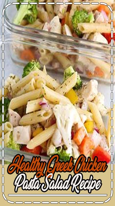 Healthy Greek chicken pasta salad recipe- whether you're heading for a picnic, a potluck, or meal prepping your lunches ahead, this salad is perfect for you! Tastes even better after the flavors marinate together for a day or two.