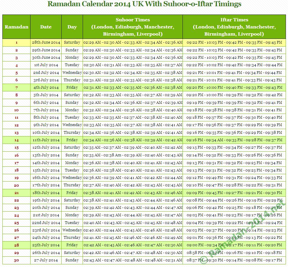 Ramadan 2014 UK Timetable - Ramadan Calendar 2014 & Fasting