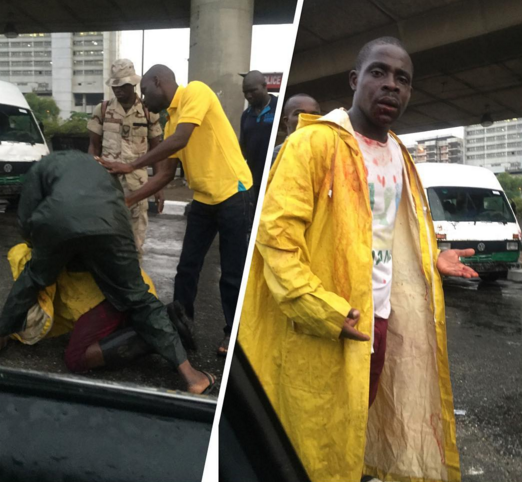 Jungle Justice:Two Army officers beat up Lastma at his duty post.