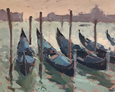#244 'Gondolas, Grand Canal' 8×10″