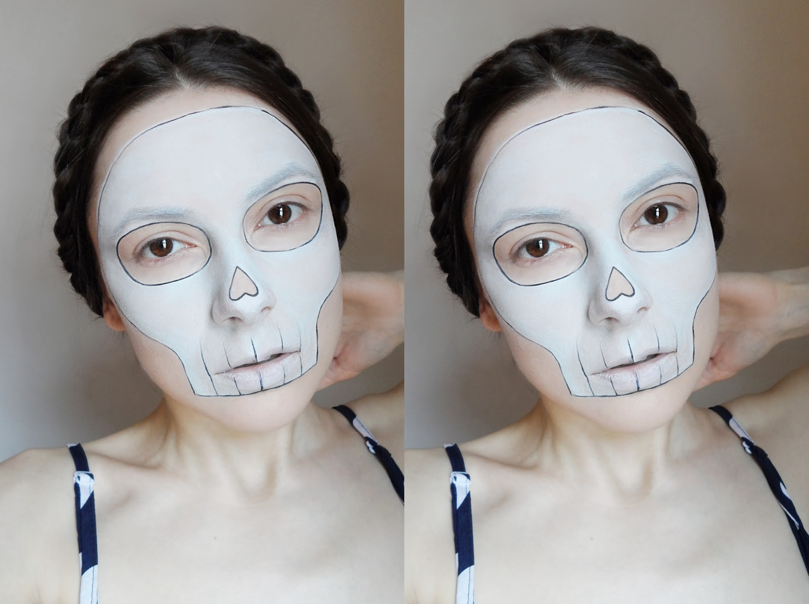 liz breygel january girl halloween makeup idea last minute tutorial skull makeup