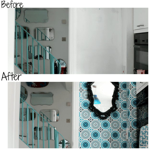 before and after image of view from kitchen to hallway.