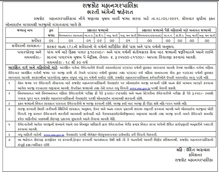 Rajkot Municipal Corporation (RMC) Surveyor Recruitment 2021