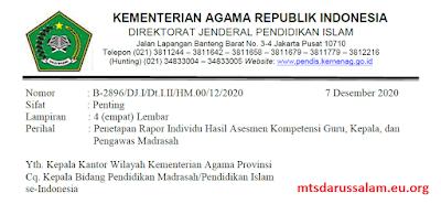 SE Penetapan Rapor Individu Hasil Asesmen Kompetensi Guru, Kepala, dan Pengawas Madrasah