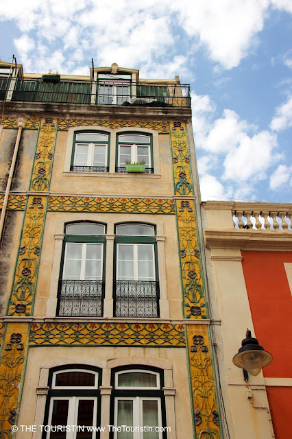 Ornamented colourful house facade.