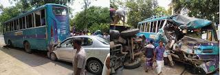 দিনাজপুরে যাত্রীবাহী বাস ও ভুট্টা বোঝাই ট্রাকের মুখোমুখি সংঘর্ষে বাসের হেলপার নিহত