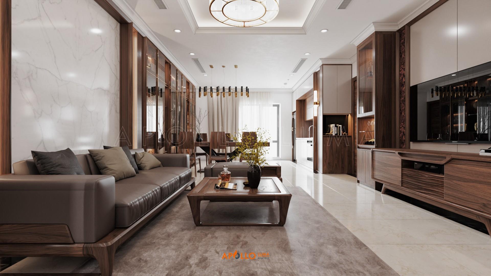 Thiết kế phòng khách gỗ óc chó sang trọng tại biệt thự Long Biên Hà Nội