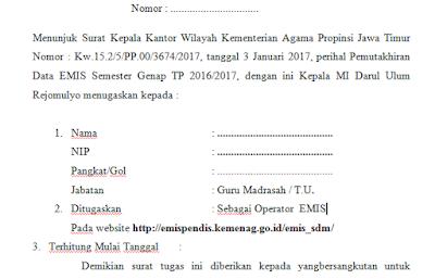 Contoh SK Operator Madrasah Untuk EMIS