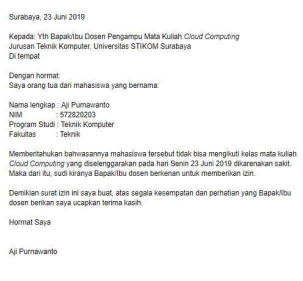 Contoh Surat Izin Tidak Masuk Kuliah (via: ibnuilyas.com)