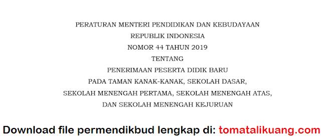 peraturan menteri pendidikan dan kebudayaan (permendikbud) nomor 44 tahun 2019 tentang penerimaan peserta didik baru (ppdb) 2020 pdf tomatalikuang.com