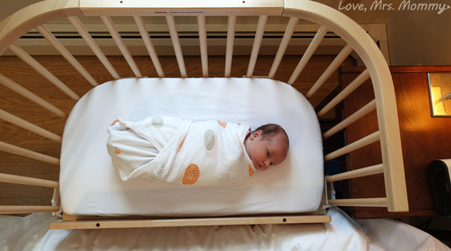 baby beside sleeper, baby in crib, babybay, babybay bedside sleeper, eco-friendly crib, bedside crib, csection help for moms