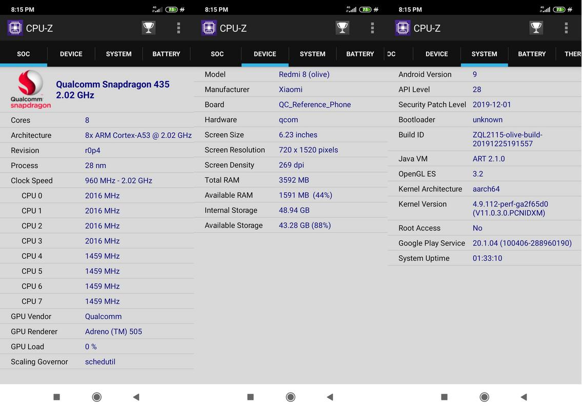 CPU-Z Xiaomi Redmi 8