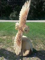 Obras de arte hechas con madera tallada buho