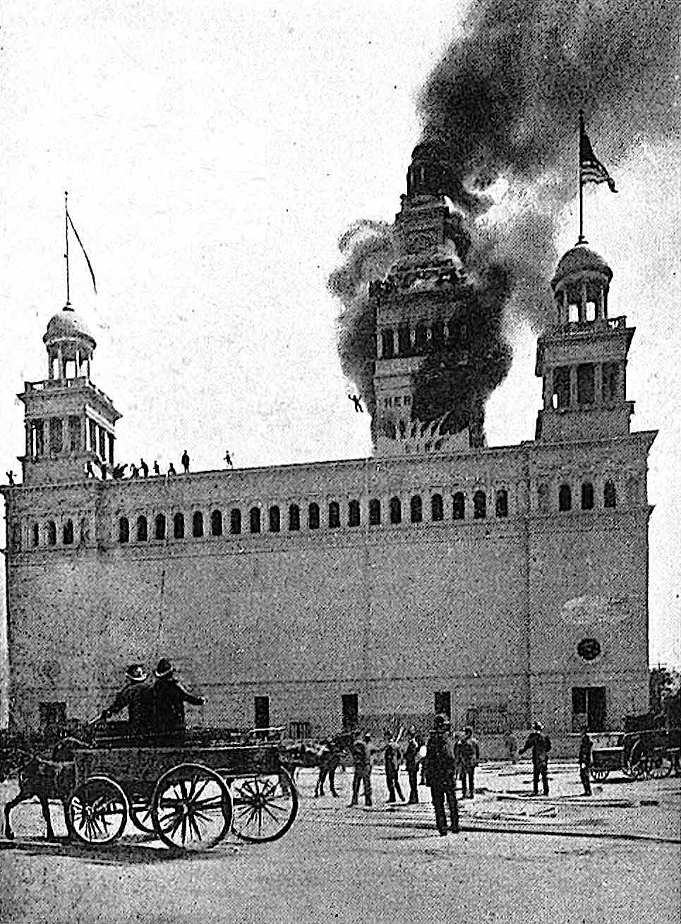 the 1893 Worlds Fair fire in a photograph