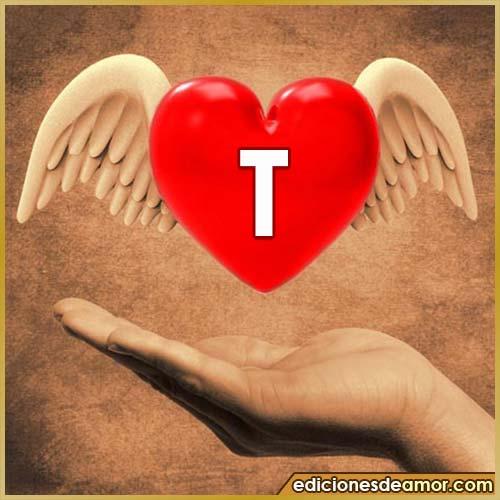 corazón con alas con letra T