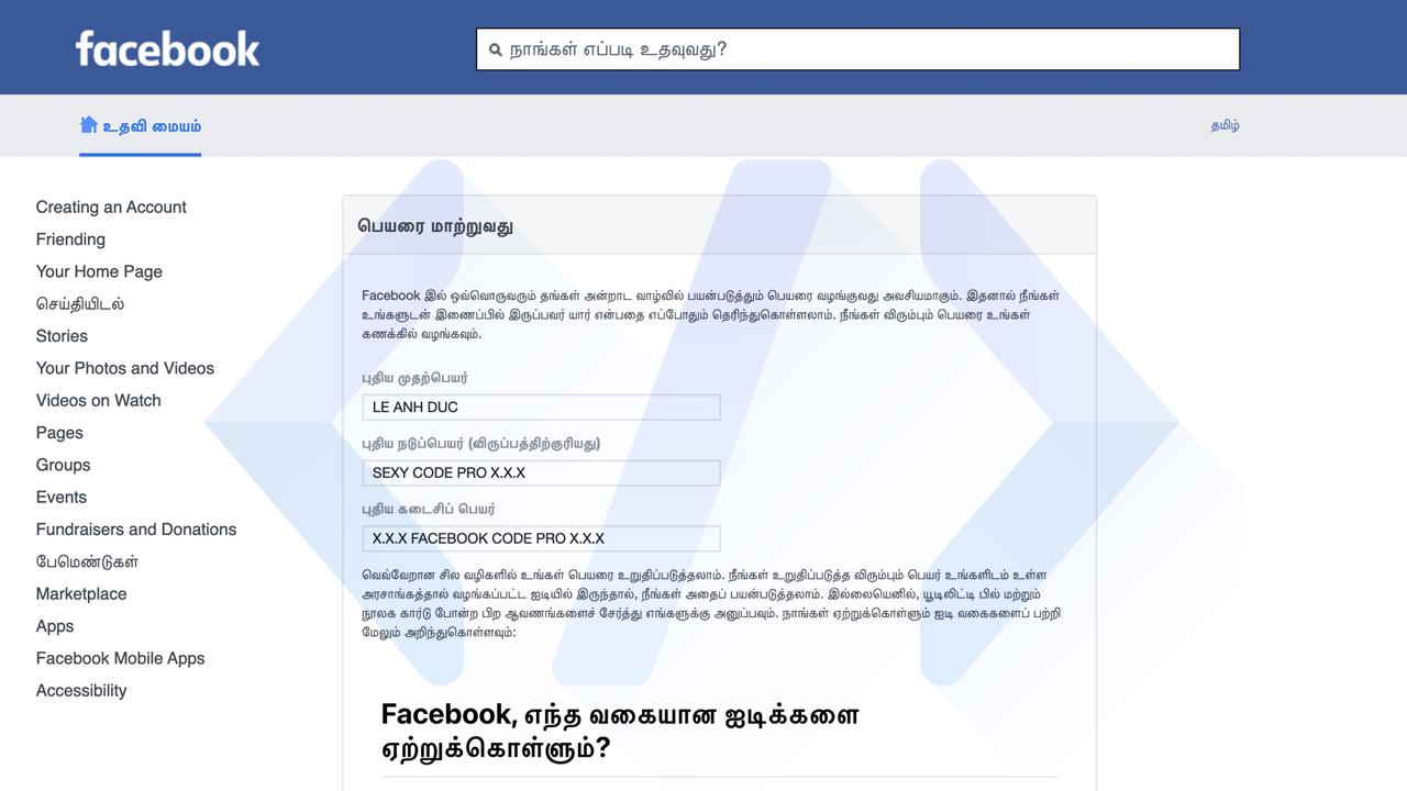 Làm cho nick Facebook bị checkpoint tên giả
