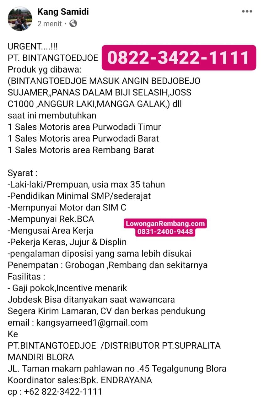 Lowongan Kerja Sales Motoris PT Bintang Toedjoe Area Rembang Barat