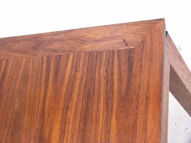 Edward J Wormley Modern Walnut Dining table by Dunbar small blemish corner