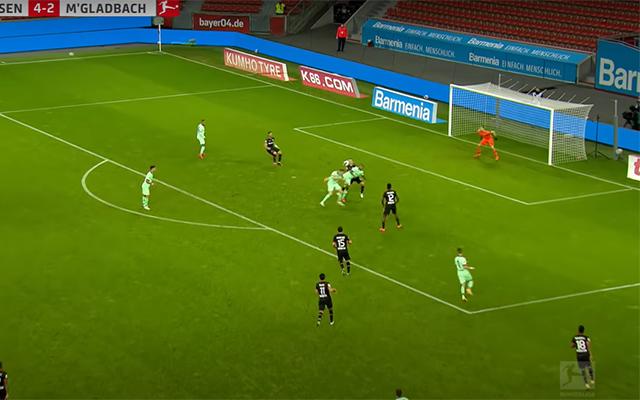 Borussia Mönchengladbach player Valentino Lazaro scores a scorpion kick goal against Bayer Leverkusen