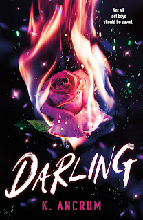 A large pink rose surrounded by sparkles and a little bit on fire.