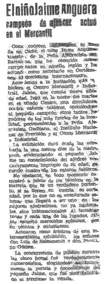Recorte de la prensa gaditana sobre el niño Jaume Anguera