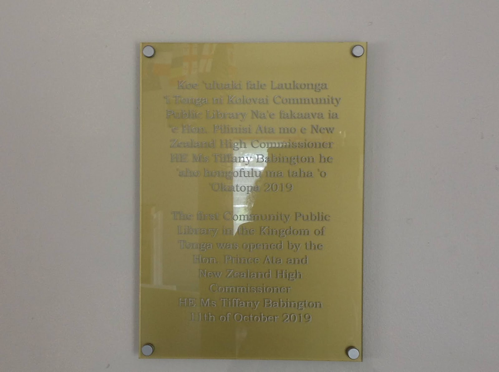 Plaque from the opening of Kolovai Library