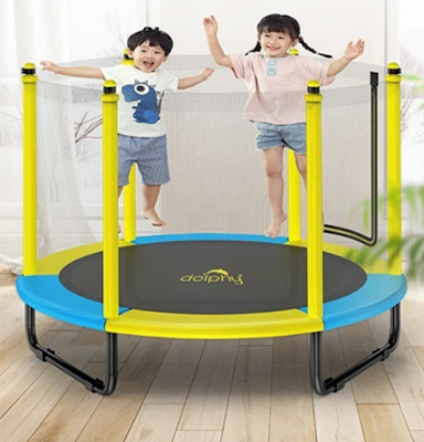 """Dolphy 50"""" Kids Trampoline with Enclosure Net Indoor & Outdoor Jumping Mat for Home & School Entertainment"""