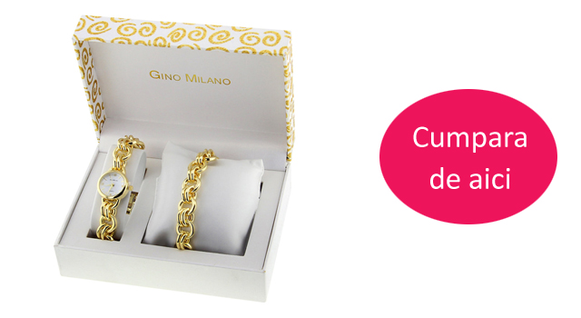 Set ceas elegant dama auriu cu bratara aurie Gino Milano