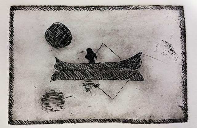 Photo of proof print from etching class