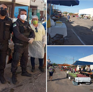 PENDÊNCIAS RN - Órgãos da prefeitura e políciais visitam feira livre, orientam populares e feirantes para evitar aglomerações