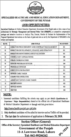 Jobs In Specialized Healthcare And Medical Education Department Lahore 2018 for 68 Posts