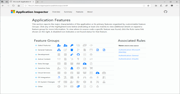 Application Inspector : A Source Code Analyzer Built For Surfacing Features Of Interest