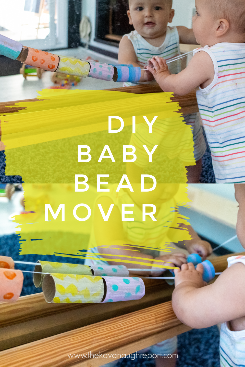 This simple baby activity is an easy and fun DIY. This Montessori baby friendly toy is simple to make and gets a baby moving!