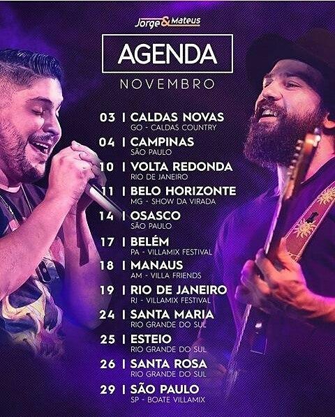 Jorge e Mateus Agenda 2018