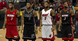 Miami Heat 4 Jerseys Mod for NBA 2K13