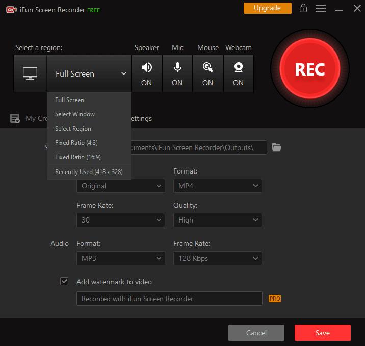iFun Screen Recorder Select a Screen Region Screenshot